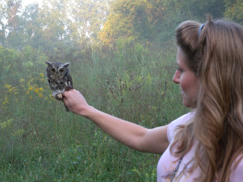 Blake with Eastern Screech Owl