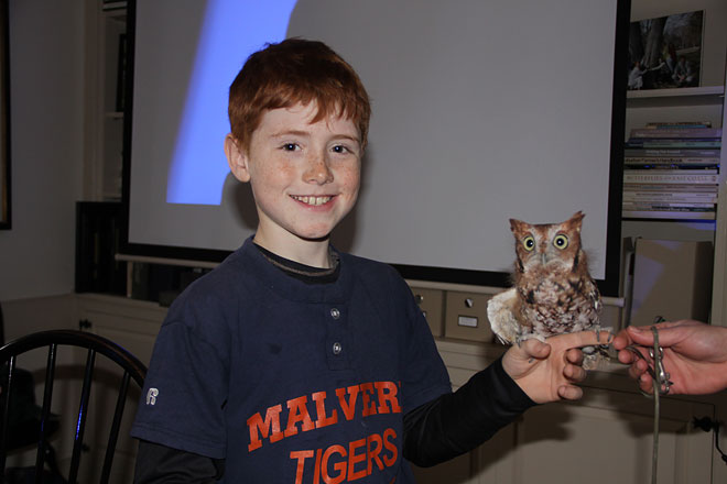 Young Birder with an Eastern Screech Owl borrowed for the morning from our partner, the Great Valley Nature Center.  Photo by Adrian Binns