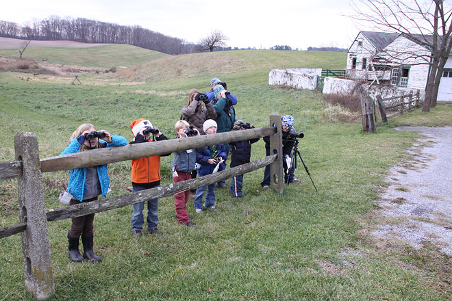 Young Birders birding for the Christmas Bird Count