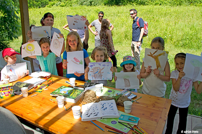 Young Birders and their drawings of bird nests.  Photo by Adrian Binns.