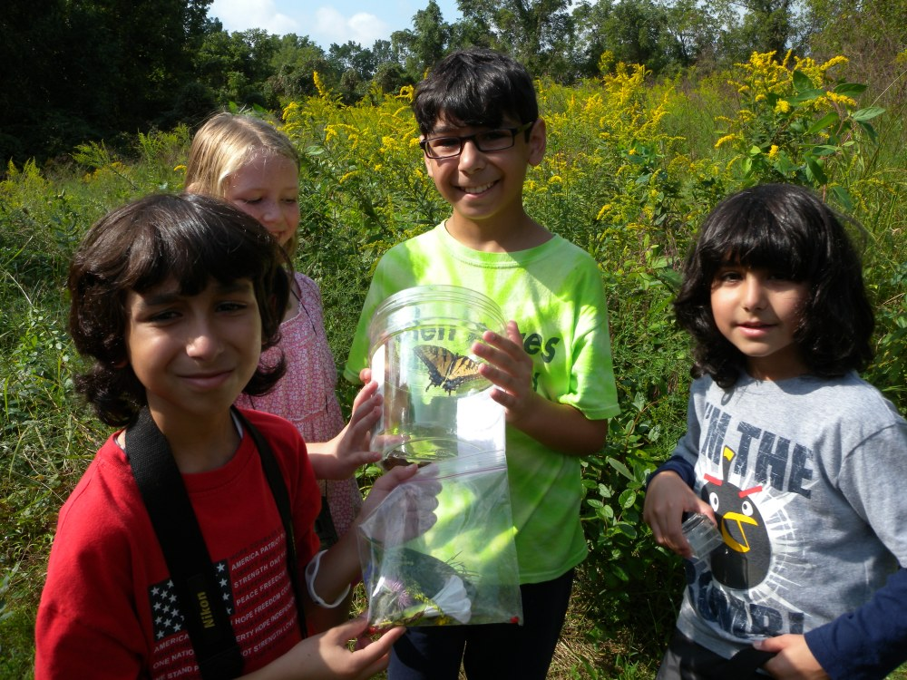 PA Young Birders with Tiger Swallowtail butterfly.  Photo by Blake Goll.