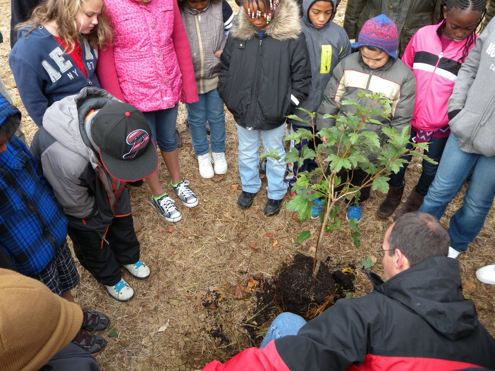 Teaching the Melton Center students how to plant shrubs.  Photo by Blake Goll.