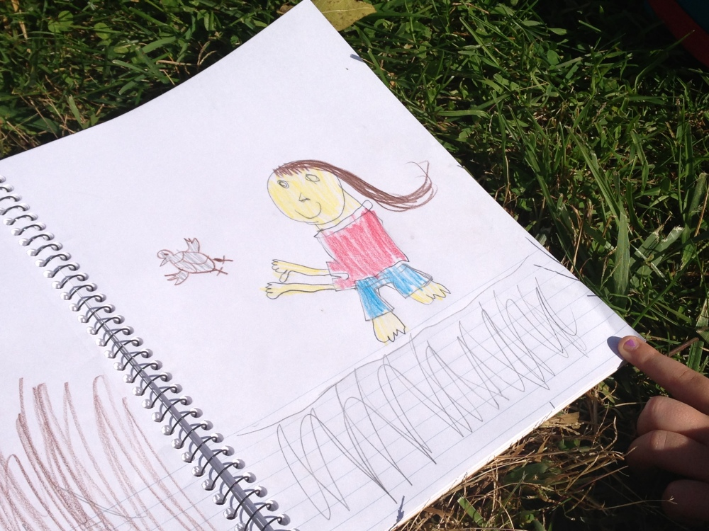 Abington Friends student drawing of herself releasing a bird at the banding station.