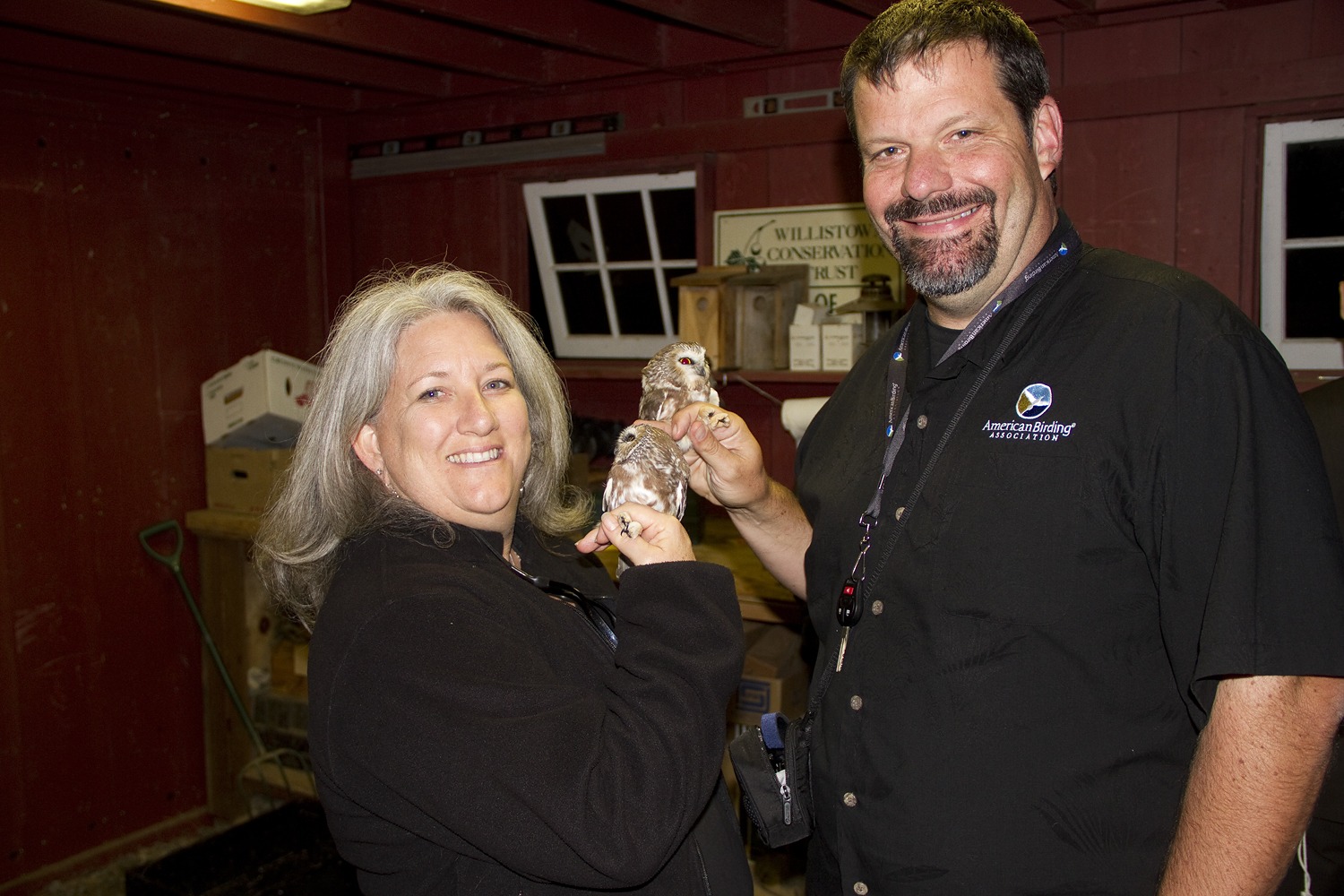 Liz and Jeffrey Gordon, President of ABA, with Saw-whet Owls at Rushton.  Photo by Adrian Binns.