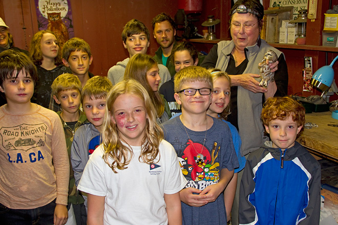 PA Young Birders with Saw-whet Owl and Doris McGovern.  Photo by Adrian Binns