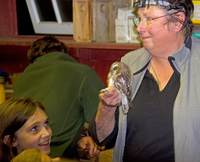 Doris McGovern showing Saw-whet Owl to the PA Young Birders.  Photo by Adrian Binns.