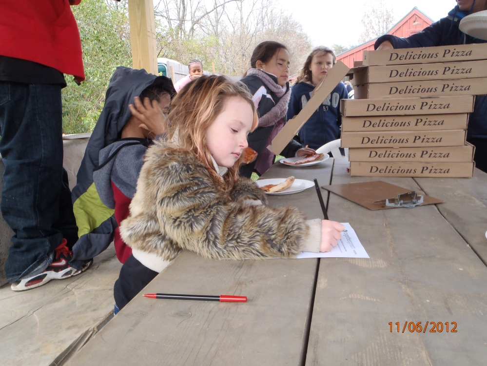 The Melton students filled out surveys to report how much they learned about birds and shrub habitat.  Photo by Bill Hartman.