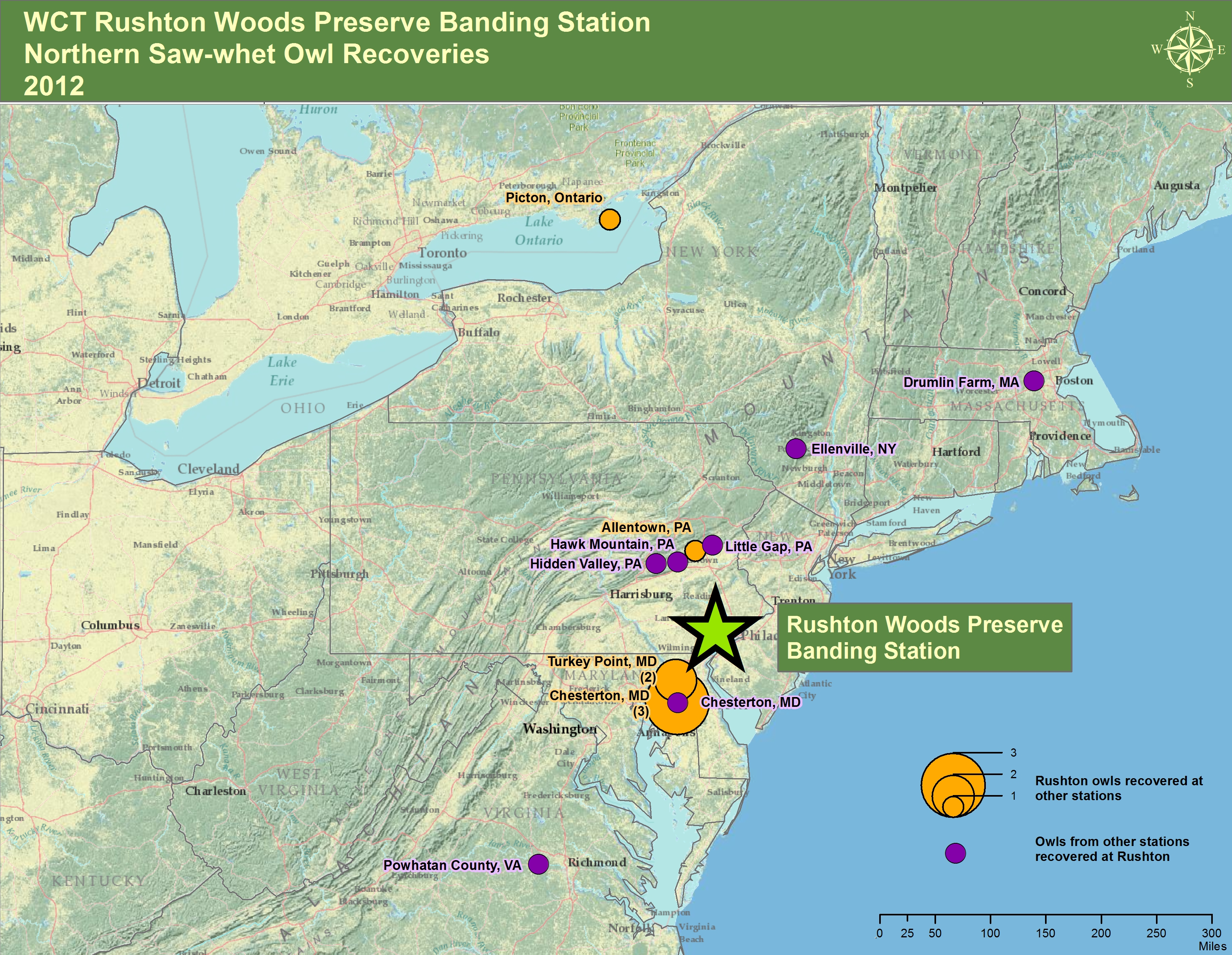Rushton Woods Preserve Saw-Whet Recoveries Map 2012