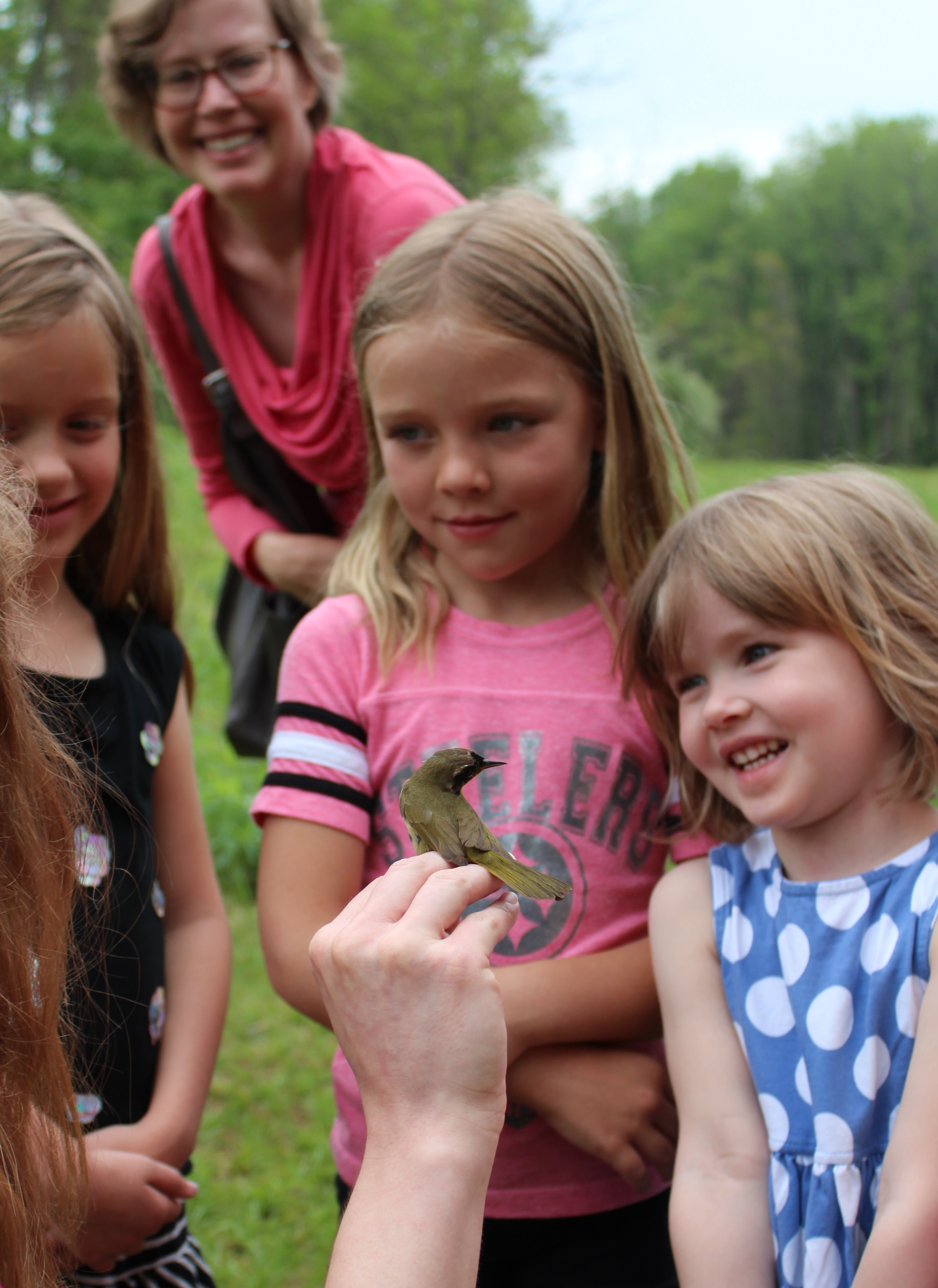 Children learning about Common Yellowthroat banded at Rushton