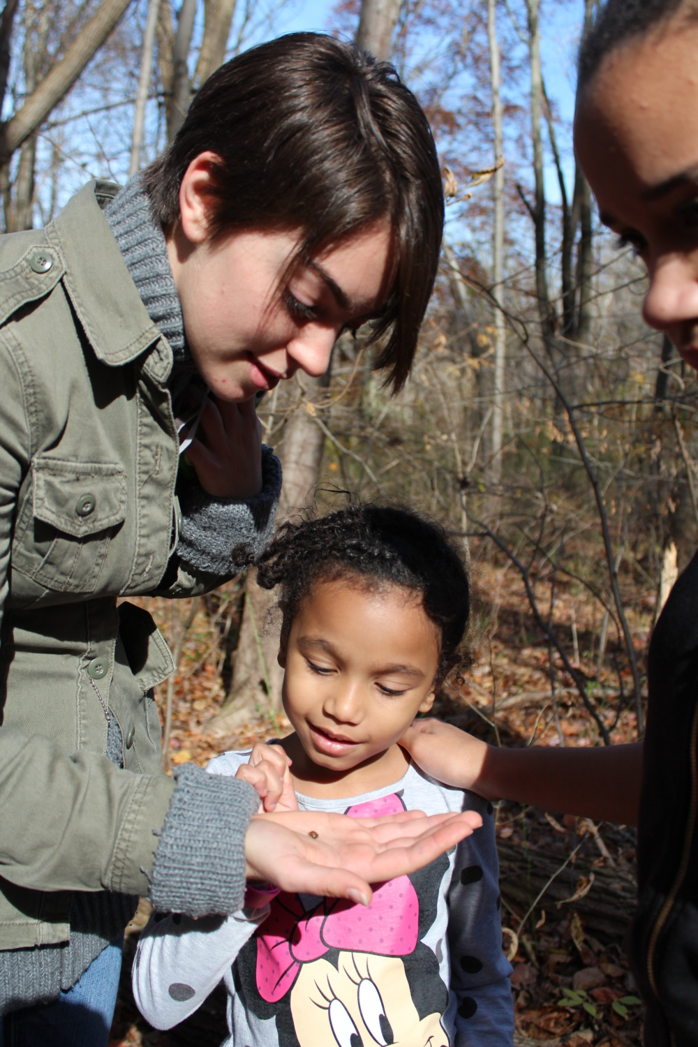 A student marvels at a tiny woodland snail, Fall 2014.  Photo by Kelsey Lingle.