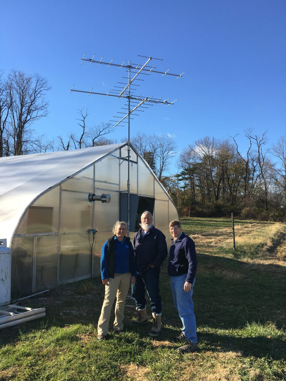 Lisa Kiziuk. Director of WCT Bird Conservation Program, Dave Brinker of Project Owlnet and Scott Weidensaul of Ned Smith Center for Nature and Art, in front of the Rushton Motus tower